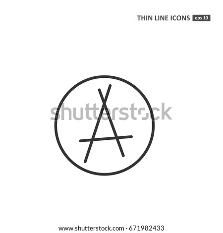 Anarchy Vector Thin Line Icon On Stock Vector 671982433 Shutterstock