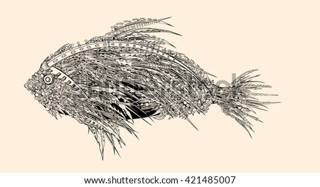 Anatomy of a fish. Robot spiked fish.