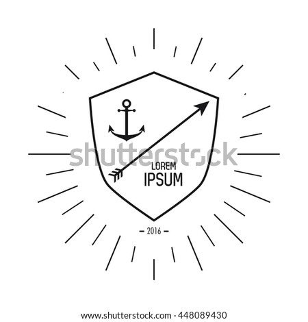 anchor and arrow icon. Hipster Style design. Vector graphic - stock vector