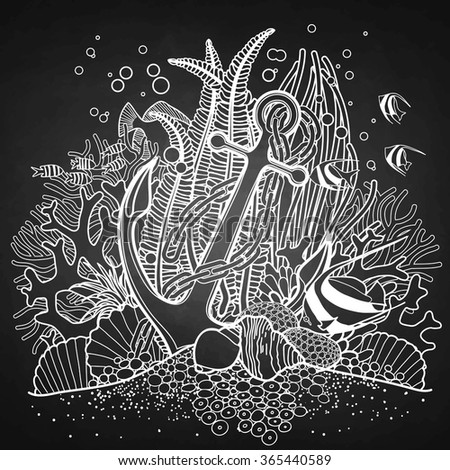 chalk coloring pages - anchor coral reef drawn line art stock vector 365440589