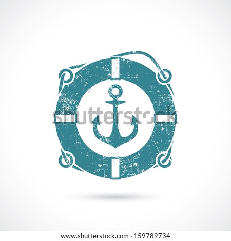 Anchor and lifebelt symbol - vector illustration - stock vector