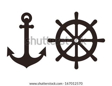 Anchor and Rudder sign isolated on white background - stock vector