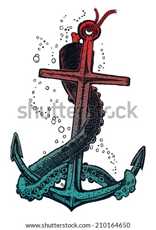 Anchor and tentacle - stock vector
