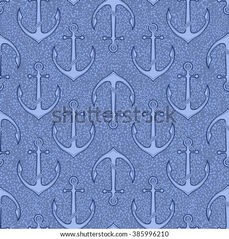 Anchor drawn in line art style. Ocean vector seamless pattern - stock vector