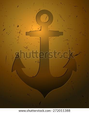 Anchor Engraving in a Golden Background, Vector Illustration.  - stock vector
