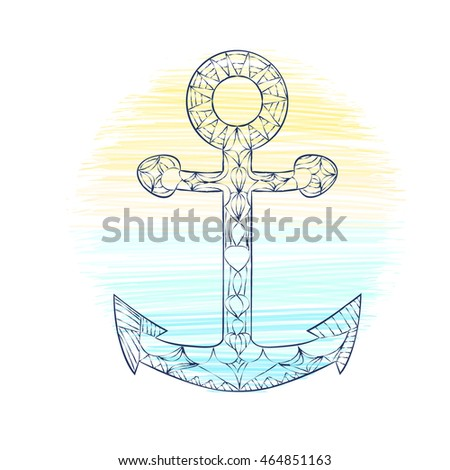 Anchor hand drawn. doodle vector illustration. Zentangle style. Black and white lines. outline on sea and beach background