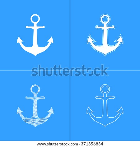Anchor  icon  on blue background. Vector illustration.