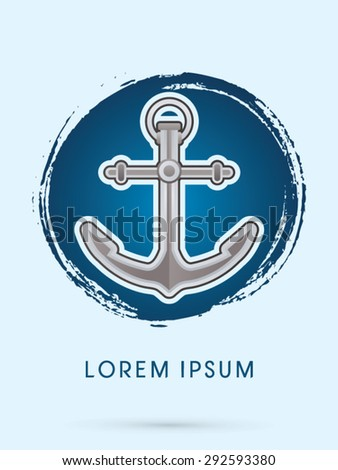 Anchor, on grunge circle background, icon , graphic vector.
