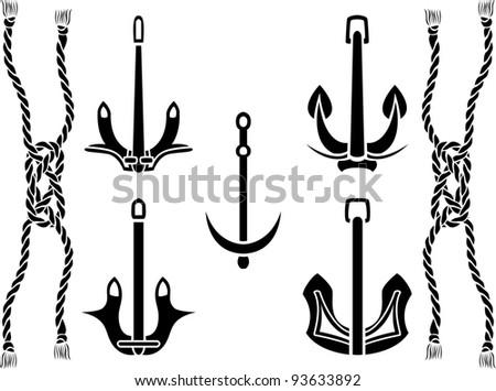 anchor set. stencil vector illustration - stock vector