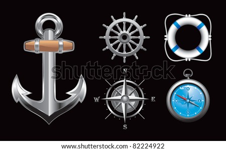 Anchor, steering wheel, compasses, and life ring on black background - stock vector