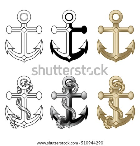 Anchor symbols set. Isolated on white, vector illustration