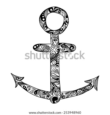 Anchor vector single color icon isolated on white background - stock vector