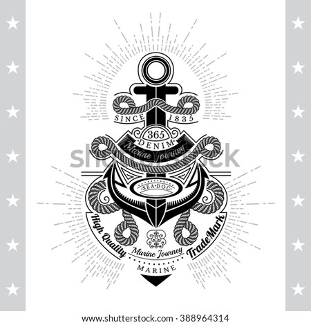 Anchor With Rope Nodes. Sea Vintage Black Label Isolated On White - stock vector