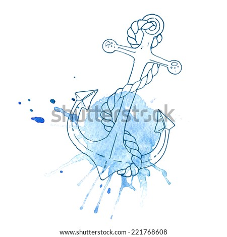 Anchor with rope on the background of an abstract watercolor stains, vector - stock vector