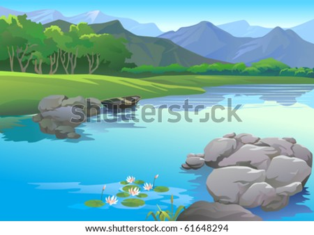 ANCHORED  BOAT BY RIVERSIDE AND MAGNIFICENT  PANORAMIC VIEW - stock vector
