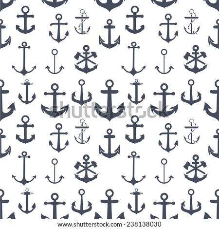 Anchors seamless background - stock vector