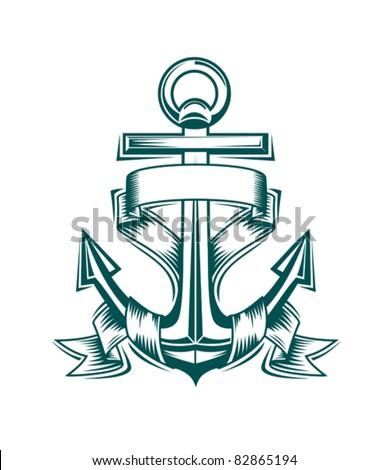 Ancient anchor with ribbons for heraldic design, such a logo. Rasterized version also available in gallery - stock vector