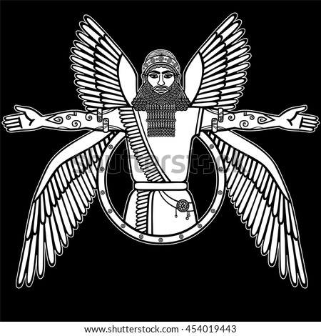 Ancient Assyrian winged deity. Character of Sumerian mythology. The linear white drawing isolated on a  black background. Vector illustration.