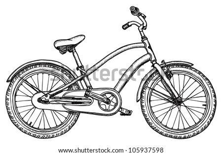 Ancient bicycle - vector rough black-and-white drawing - stock vector