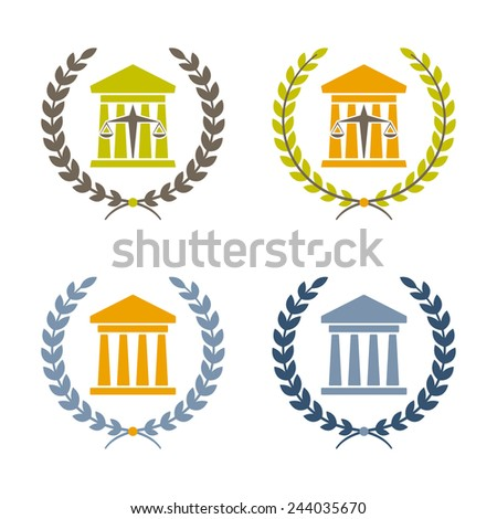 ancient building columns and justice scales - stock vector