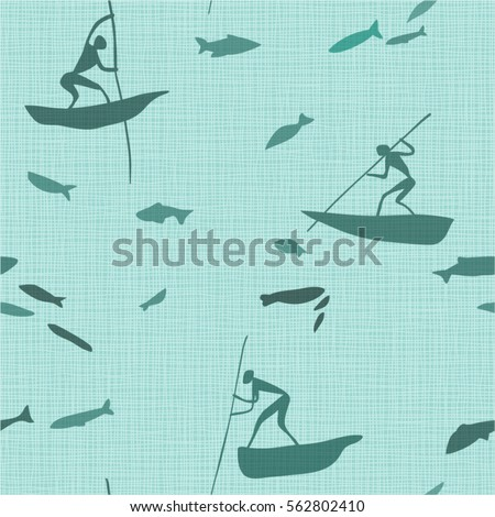 Ancient bush mans fishing. Abstract background on fabric texture. Vector graphics.