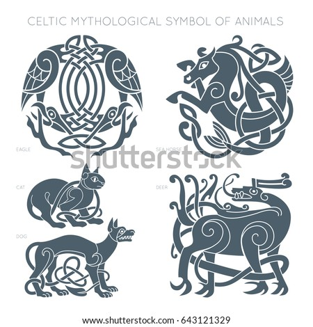 Ancient Celtic Mythological Symbol Animals Vector Stock Vector