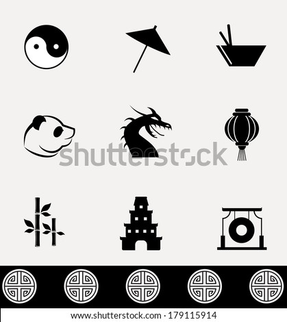 Ancient China icons collection. Vector illustration. - stock vector
