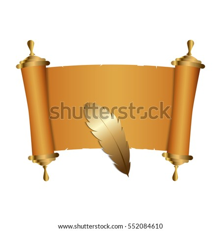 Ancient Chinese scroll illustration with gold feather. Old parchment paper. Vector illustration.