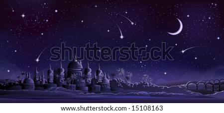 Ancient city under crescent moon (other landscapes are in my gallery) - stock vector