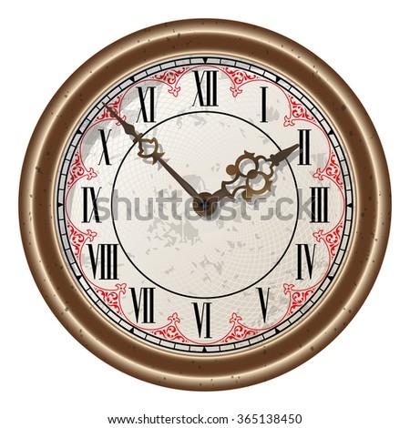 Ancient clock vector - stock vector