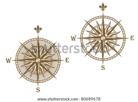 Ancient compass isolated on white background for travel design. Jpeg version also available in gallery - stock vector