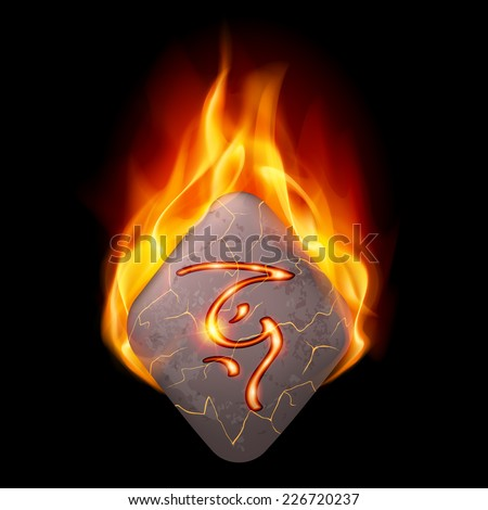 Ancient diamond-shaped stone with magic rune in orange flame