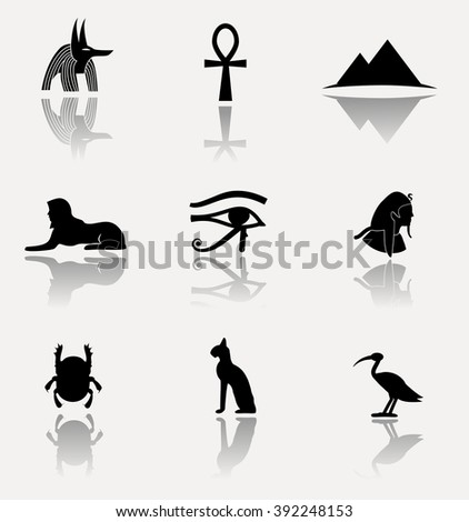 Ancient Egypt. Collection of symbolic vector icons isolated on bright background.