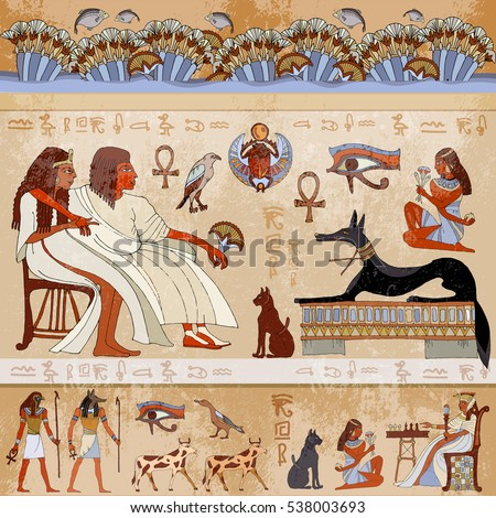 Ancient Egypt Scene. Egyptian Gods And Pharaohs. Hieroglyphic Carvings On  The Exterior Walls Of Part 62