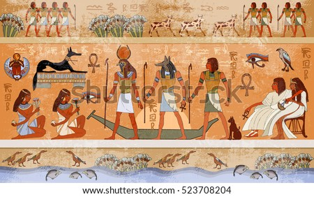 Ancient Egypt Scene, Mythology. Egyptian Gods And Pharaohs. Hieroglyphic  Carvings On The Exterior Part 17