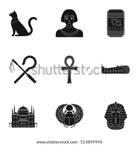 Ancient Egypt Set Icons Black Style Stock Vector Royalty Free