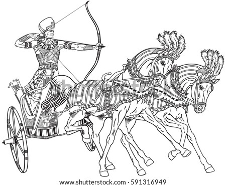 Ancient Egypt Twowheeled Chariot Pulled By Stock Vector ...