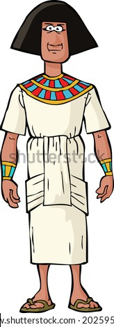 Ancient Egyptian nobleman on a white background vector illustration - stock vector