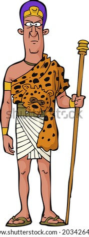 Ancient Egyptian priest on white background vector illustration - stock vector
