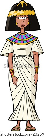 Ancient Egyptian woman on white background vector illustration - stock vector