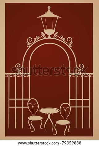 Ancient gate of restaurant with lamp - stock vector
