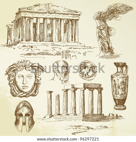 ancient greece - hand drawn set - stock vector