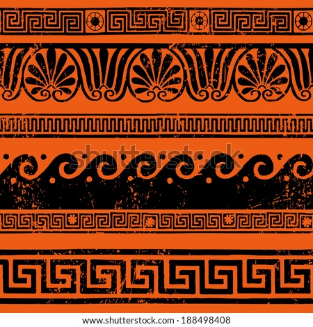 Ancient Greek border ornaments, meanders - stock vector