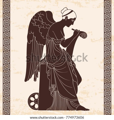 Ancient Greek Goddess Nemesis Wings Sits Stock Vector Royalty Free