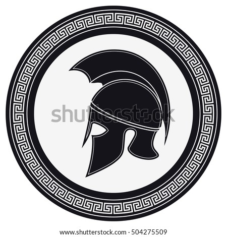 Ancient Greek Helmet Crest On Shield Stock Photo Photo Vector