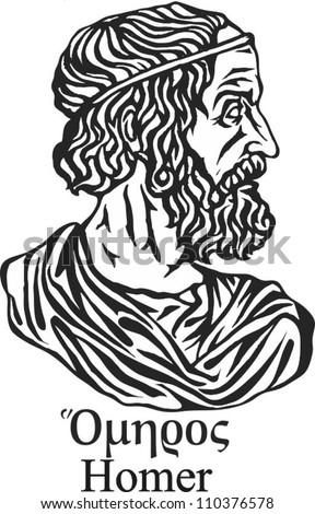Ancient greek poet Homer. - stock vector