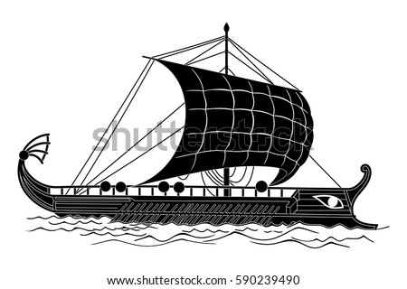 Ancient Greek Ship Oars Sails On Stock Vector (2018) 590239490 ...