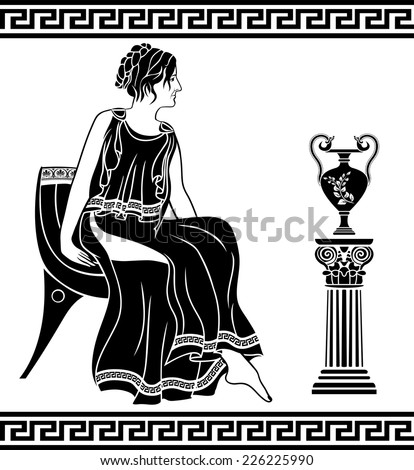 Ancient Greek woman sitting on a chair, black stencil - stock vector