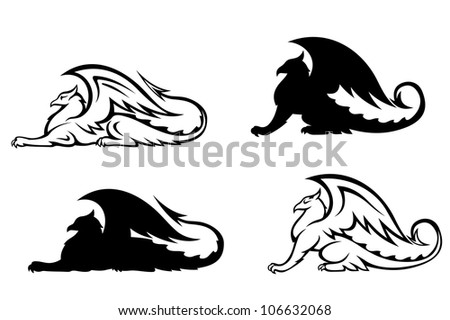 Ancient griffins - stock vector