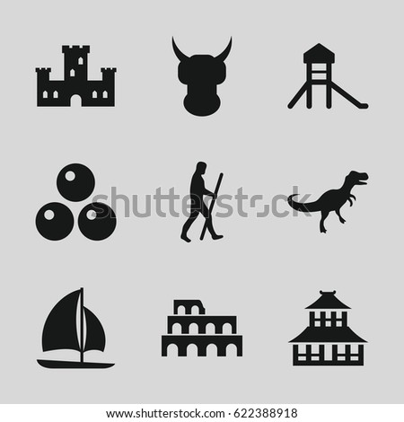 Ancient icons set. set of 9 ancient filled icons such as Coliseum, castle, temple, sailboat, caveman, dinosaur, canon ball
